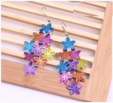 Boucles d'oreilles en cuivre assorties aux couleurs des fleurs, boucles d'oreilles à glands de protection de l'environnement à plusieurs niveaux
