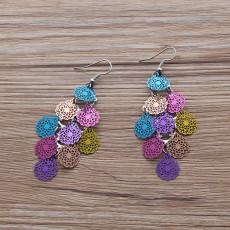 Boucles d'oreilles couronne petit cercle Boucles d'oreilles en cuivre colorées de neuf pièces