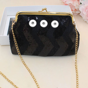 6 inches Square Sequins Diagonal coin purse Snaps coin purse Storage bag fit 18mm chunks