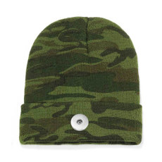 Camouflage hooded hat men and women knitted hat ski warm hat all-match fit 18mm snap button