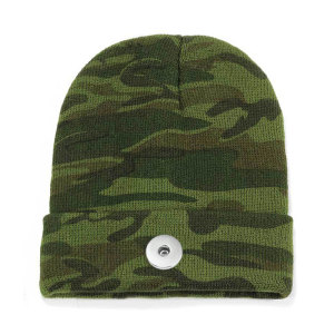 Bonnet à capuche camouflage homme et femme bonnet tricoté bonnet chaud de ski coupe tout-aller bouton-pression 18 mm