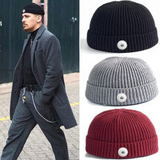 Lovers Style Melon Leather Hat Fall/Winter Pure Color Knitted Woolen Hat Ski Hat Warm Wool fit 18mm snap button