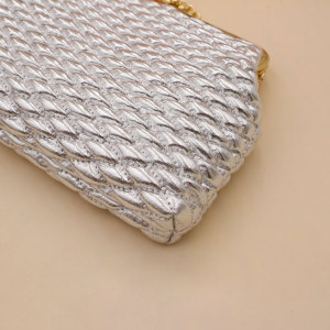 6 pouces losange doré chaîne de perles Porte-monnaie en diagonale Porte-monnaie à boutons-pression Sac de rangement pour morceaux de 18 mm