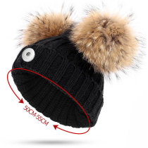 Children's woolen hats, warm in winter, knitted hats, wool balls fit 18mm snap button