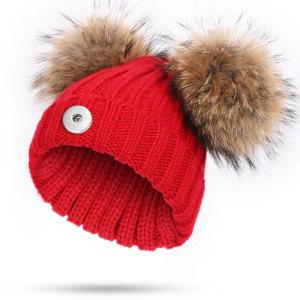 Bonnets en laine pour enfants, chauds en hiver, bonnets en tricot, boules de laine s'adaptent à un bouton-pression de 18 mm