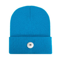 Pure color light board acrylic wool hat men and women lovers autumn and winter knitted warm hats fit 18mm snap button