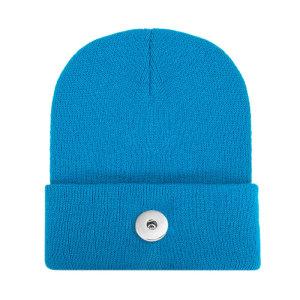 Chapeau en laine acrylique de couleur pure pour hommes et femmes, amoureux d'automne et d'hiver, chapeaux chauds tricotés pour bouton-pression de 18 mm