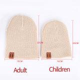 Bonnets en laine tricotés pour enfants, automne et hiver, couleur unie, chaleur, bonnets tricotés pour bébés, modèles parent-enfant tous assortis s'adaptent à un bouton-pression de 18 mm