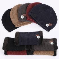 Winter new style maple leaf cotton hat knit suit plus velvet thickening warm outdoor leisure woolen hat male hat fit 18mm snap button