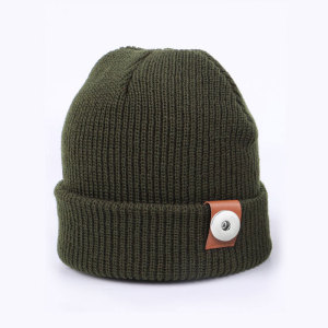 Knitted woolen hat, autumn and winter, solid color, warmth, knitted hat, all-match, parent-child fit 18mm snap button