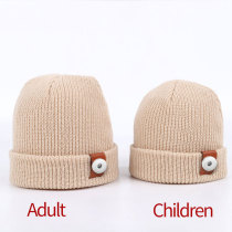 Children's knitted woolen hats, autumn and winter, solid color, warmth, baby knitted hats, all-match parent-child models fit 18mm snap button