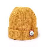 Bonnet tricoté en laine, automne et hiver, couleur unie, chaleur, bonnet tricoté, all-match, coupe parent-enfant bouton pression 18mm