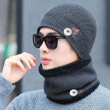 Hiver nouveau style feuille d'érable coton chapeau tricot costume plus velours épaississement chaud loisirs en plein air chapeau de laine chapeau mâle fit 18mm bouton pression