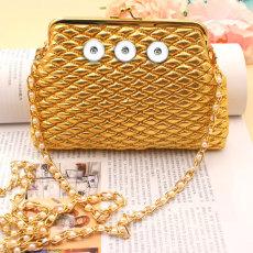 6 inches Golden rhombus Pearl chain Diagonal coin purse Snaps coin purse Storage bag fit 18mm chunks