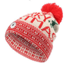Christmas elk wool ball printing knitted Christmas hat winter warm earmuffs head hat woolen hat fit 18mm snap button