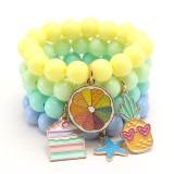 Enfants Pendentif en alliage d'huile dégoulinant mignon bracelet pour enfants couleur bonbon acrylique main perlée pour enfants