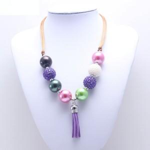 Children Purple Tassel Pendant Children's Necklace Adjustable Children's Beaded Necklace