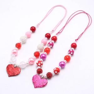 Children Valentine's Day Peach Heart Pendant Children's Necklace Adjustable Rope Children's Beaded Necklace for girls