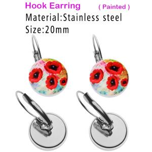 Boucles d'oreilles à crochet peintes en acier inoxydable conçues sur mesure