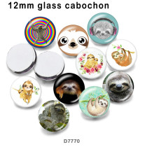 10pcs/lot  sloth glass picture printing products of various sizes  Fridge magnet cabochon