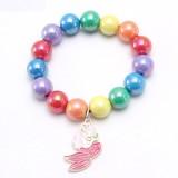 Kinder Regenbogen Perlen Kinderarmband, süßer tropfender Legierungsanhänger, Kinderhand