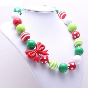 Kinder Red Bow Weihnachten Kinder Perlenkette New Kid Chunky Halskette