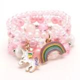 Children Dripping Rainbow Unicorn Pendant Children's Bracelet Pink Acrylic Children's Beaded Bracelet