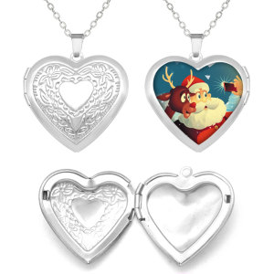 Stainless steel painted Heart pattern Phase box, chain length 60cm, diameter 27cm