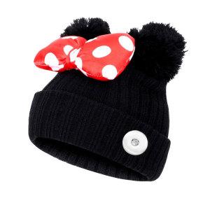 Automne et hiver nouveaux enfants 1-9 ans nœud d'arc double boule de cheveux Mickey mignon chapeau de laine doux chapeau tricoté chaud fit 18mm bouton-pression