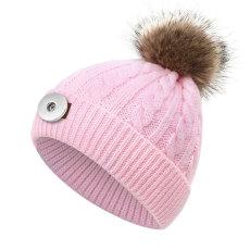 Children's wool hat imitation raccoon fur ball knitted hat twist hat fit 18mm snap button