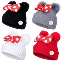 Autumn and winter new children 1-9 years old bow knot double hair ball Mickey cute sweet woolen hat warm knitted hat fit 18mm snap button