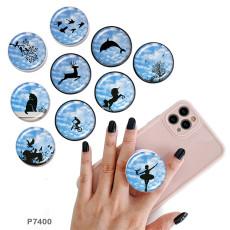 動物 携帯電話ホルダー 黒または白のプリントパターンのベースに塗装された電話ソケット