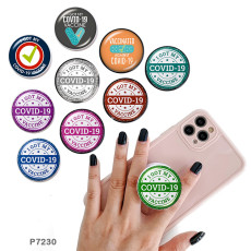 COVID-19防止携帯電話ホルダー黒または白のプリントパターンベースの塗装済み電話ソケット