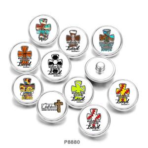 20MM  Cross  Basketball  Football  Print   glass  snaps buttons