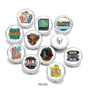 20MM  Daddy  Mama  Back the blue  Print   glass  snaps buttons