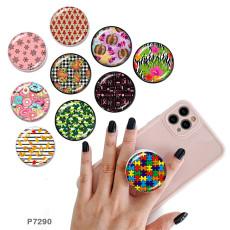 ドーナツ携帯電話ホルダー黒または白のプリントパターンベースの塗装済み電話ソケット