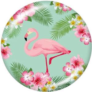 20MM Flamingo Cat Flag Christmas Print boutons pressions en verre