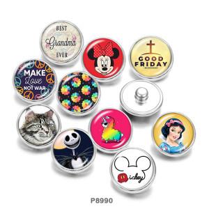 20MM princesse chat Halloween Print boutons pression en verre