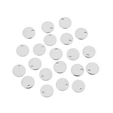 20 шт. / Упак. Бирка из нержавеющей стали круглая подвеска простой глянцевый кулон нескользящая круглая деталь