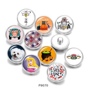 20MM Chien princesse Mama Print boutons pression en verre