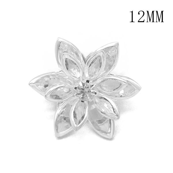 12MM多層花形デザインメタルシルバーメッキスナップチャーム