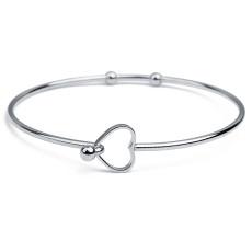 2 шт. / Упак. Браслеты из нержавеющей стали, женский изысканный полированный браслет в форме сердца из бисера, браслет в форме сердца, браслет diy
