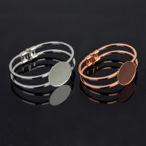 Браслет из розового золота из нержавеющей стали, пустой держатель, 20, 25, 30 мм, с круглым дном, браслет, сделай сам, ювелирные изделия из драгоценных камней, аксессуары