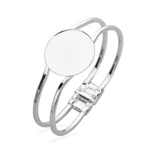 Silver Stainless steel bracelet empty holder 20 25 30mm round bottom holder bracelet diy gemstone jewelry accessories