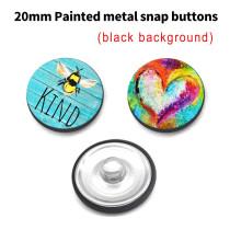 Boutons-pression en métal peint de 20 mm sur mesure Breloques sur fond noir