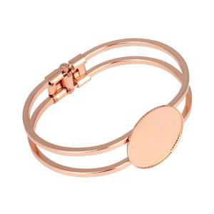 Bracelet en acier inoxydable or rose support vide 20 25 30mm bracelet support à fond rond bricolage accessoires de bijoux de pierres précieuses