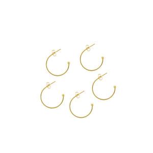 Or 6pcs / pack, accessoires de crochet d'oreille en acier inoxydable, boucles d'oreilles, boucles d'oreilles en forme de C faites à la main, matériau perlé