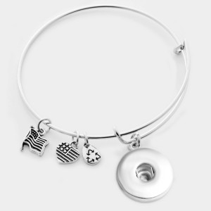 Bracelet en fer 1 boutons bouton pression bracelet en argent fit boutons pression bijoux