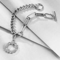 Stainless steel trendy diamond-studded women's bracelet