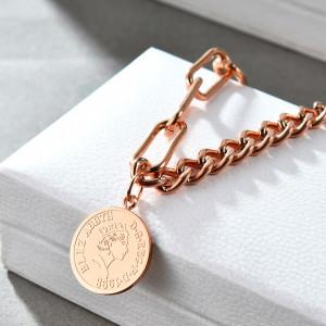 Bracelet médaille ronde tête humaine, bracelet dames en or rose en acier inoxydable, bijoux de pièce Elizabeth